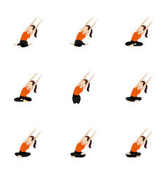 Seated side bend with parallel hands stretch yoga vector