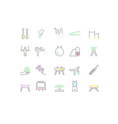 set line icons gymnastics vector image