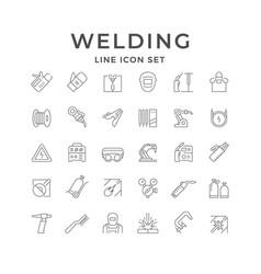 Set line icons welding vector