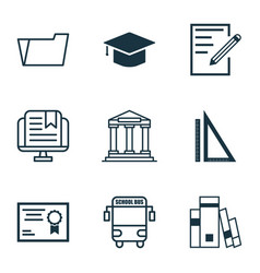 Set of 9 education icons includes college vector