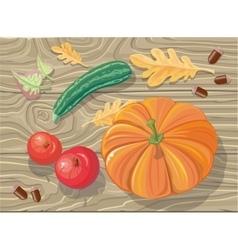 Set of Autumn Fetuses Squash Apples Acorns vector