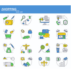 set of online shopping delivery and vector image