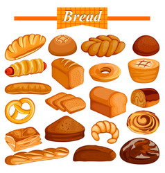 Set yummy assorted bread and bakery food item vector