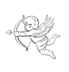 Sketch cute funny cupid aiming a bow and arrow vector