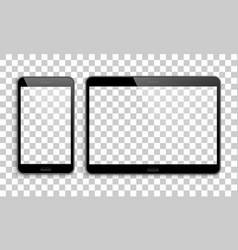smartphone tablet mockup transparent background vector image