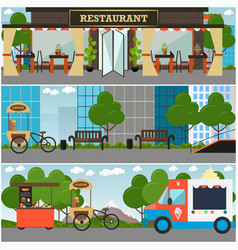 street food and drink establishment interior vector image