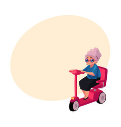 Stylish old lady driving riding modern scooter vector