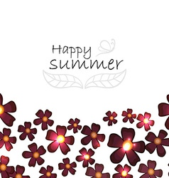 Summer background with burgundy flowers vector