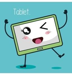 tablet character kawaii style vector image