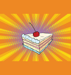 tender cake with a cherry vector image