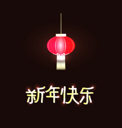 text happy new year chinese with red lantern on vector image