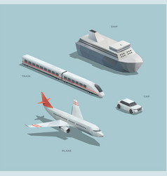 transport isometric polygons vector image