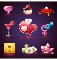 valentines day set romantic elements vector image