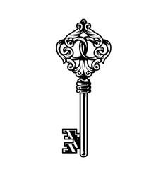Vintage monochrome antique metal key template vector