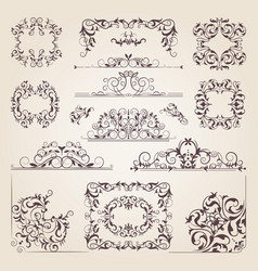 Vintage old banners swirls corners and different vector