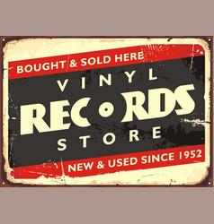 vinyl records store retro sign vector image