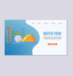 Water attraction or aquapark for kids with vector