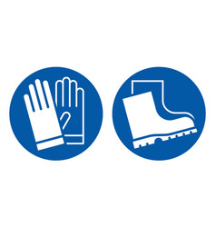 Wear safety gloves and footwear sign vector