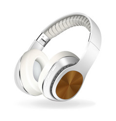 White and brown headphones isolated on white vector