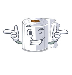 wink character toilet paper rolled on wall vector image
