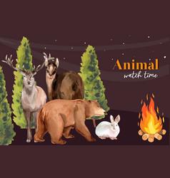 Winter animal frame design with rabbit deer bear vector
