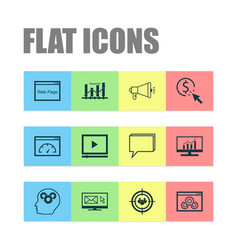 advertising icons set collection of intellectual vector image