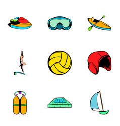 aqualung icons set cartoon style vector image