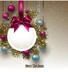Christmas gift card with ribbon and christmas vector