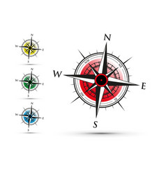 colourful compass set vector image vector image