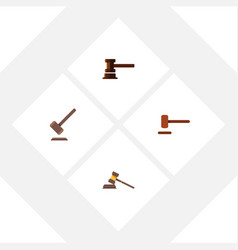 flat icon hammer set of court government building vector image vector image