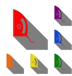 iron sign set of red orange yellow green blue vector image