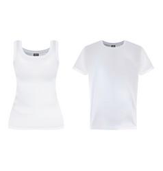 men s and women s white short sleeve t-shirt vector image
