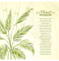 Palm tree over bamboo forest vector