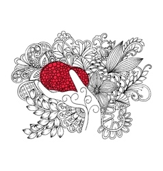 Red heart in hand on a flower carpet vector image vector image