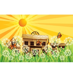 A sunset and the different houses at the top of vector image vector image