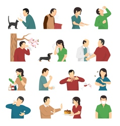 Allergy Symptoms Causes Flat Icons Set vector image vector image