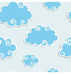 Blue Clouds with White Border Seamless pattern vector image