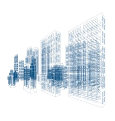 Drawings of skyscrapers and homes vector image