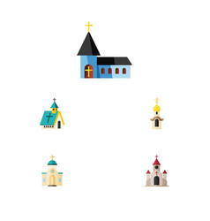 flat icon church set of christian architecture vector image vector image