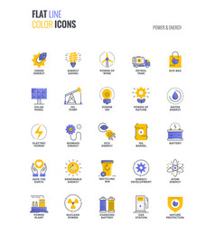 flat line multicolor icons design-power and energy vector image