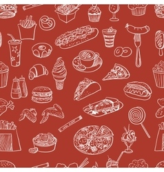 Hand drawn fast food pattern vector image vector image