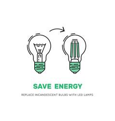 led energy saving lamp vector image