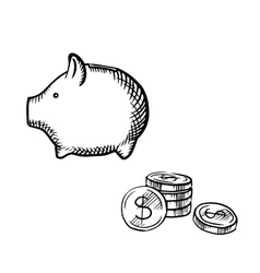 Piggy bank and coins stack sketch vector image vector image