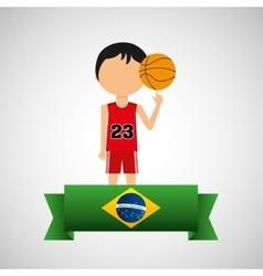 cartoon basketball player brazilian label vector image