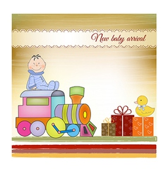 Customizable birthday greeting card with train vector