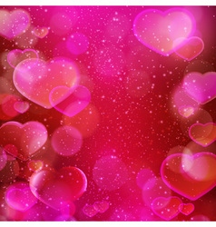 Dark red purple hearts bokeh background vector image vector image