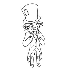 mad hatter character coloring book vector image