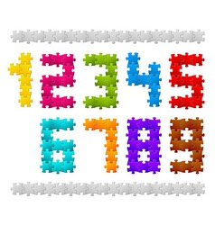 Numbers made from puzzle pieces vector image vector image