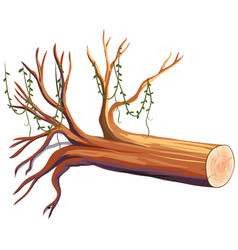 Wooden log with vine vector
