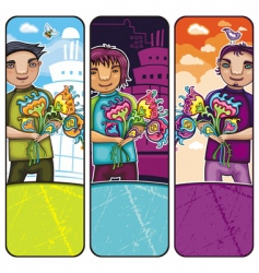 boys with flowers vector image